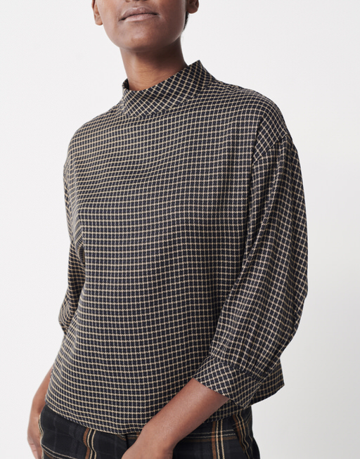 Shirtbluse Zaccai check tender almond