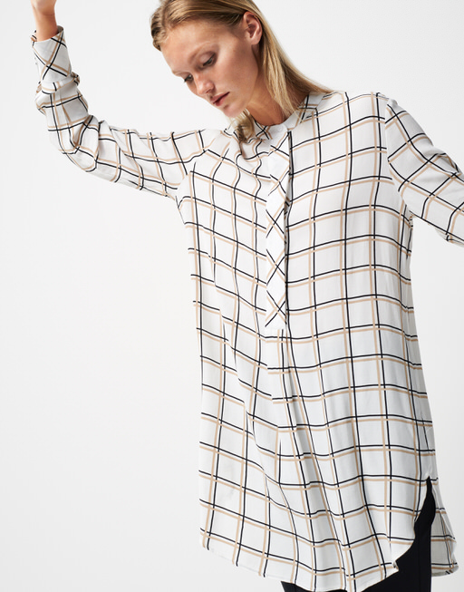 Longbluse Zulila check natural sand