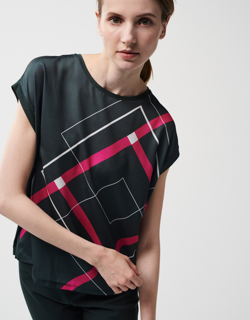 T-shirt Kori geometric SQ 1 dark jade