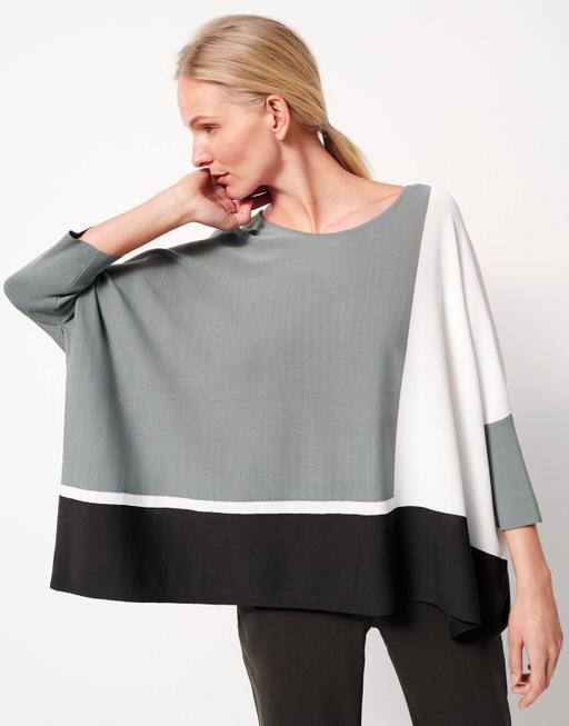 Oversize Pullover Tjelva grafic grey green