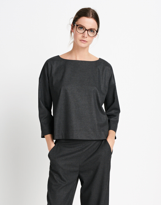 Shirtbluse Zora structure dimmed grey
